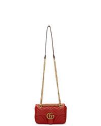 Gucci Red Mini Gg Marmont 20 Shoulder Bag