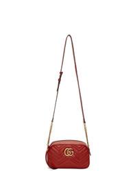 Gucci Red Small Gg Marmont 20 Camera Bag