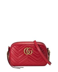 Gucci Small Gg Marmont 20 Matelasse Leather Camera Bag