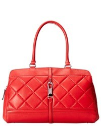 Red Quilted Leather Satchel Bag