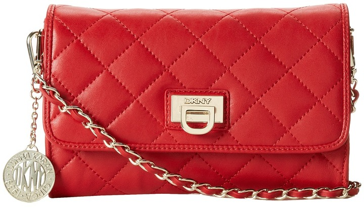 DKNY Gansevoort Quilted Nappa Small Flap Crossbody Cross Body ...