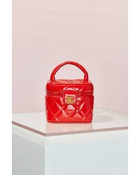 Chanel Vintage Red Patent Leather Quilted Vanity Bag