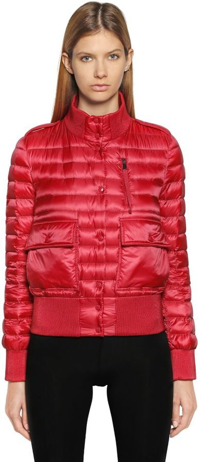 Silene Quilted Nylon Bomber Jacket. Red Quilted Nylon Bomber Jacket by Moncler