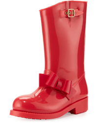 RED Valentino Bow Rubber Mid Calf Rain Boot Red