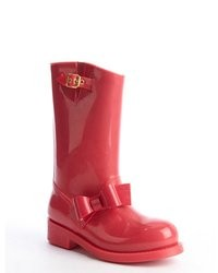 RED Valentino Pink Rubber Bow Detail Rain Boots