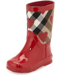 Burberry Ranmoor Heart Print Rubber Rain Boot Red Toddler