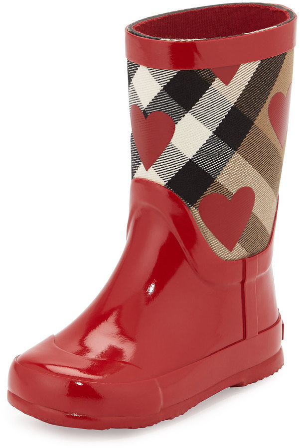 f37465786124 ... Burberry Ranmoor Heart Print Rubber Rain Boot Red Toddler ...