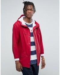 Rains Short Waterproof Jacket In Scarlet