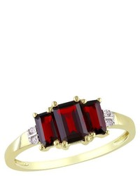 002 Ct Tw Diamond With 1 58 Ct Tw Garnet 4 Prong Ring In 10k Yellow Gold
