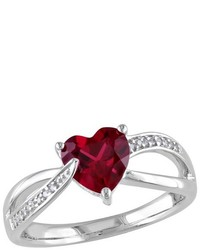 161 Ct Tw Simulated Ruby And 051 Ct Tw Diamond Pave Set Ring In Sterling Silver