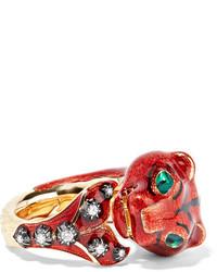 Gucci 18 Karat Gold Diamond And Enamel Ring Red