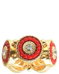 Journee Collection Journee Brass Ring With Colored Inlay With Rhinestones