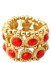 Zirconite Stretch Ring With Crystals Red Coral