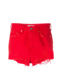 Red Ripped Denim Shorts