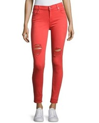 Red Ripped Skinny Jeans