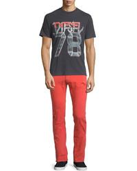 Diesel Thavar Distressed Skinny Leg Denim Jeans Red