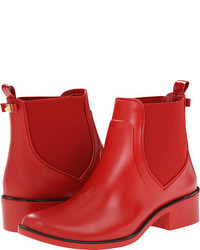 Red Rubber Ankle Boots