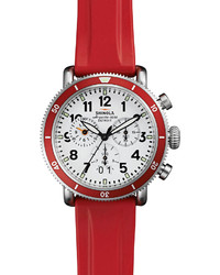 Shinola 42mm Runwell Sport Chronograph Watch With Rubber Strap Red