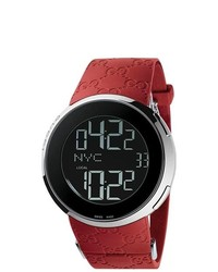 Gucci Stainless Steel Case Red Rubber Strap Digital Watch