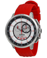 Versus By Versace Manhattan Chronograph White And Black Dial Red Rubber