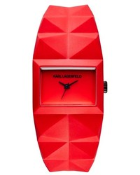Karl Lagerfeld Perspektive Pyramid Rubber Strap Watch 32mm X 24mm