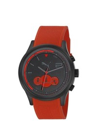 Puma Motor Red Rubber Strap Quartz Watch