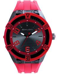 Sean John Red Silicone Strap Watch 56x50mm 10018072