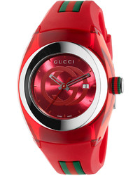 Gucci Sync Unisex Swiss Red And Green Rubber Strap Watch 36mm Ya137303