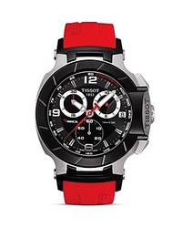 Tissot T Race Black Quartz Chronograph Red Rubber Watch 50mm