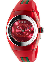 Gucci Unisex Red Sync Stainless Steel And Rubber Watch 36mm