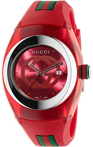 Unisex Red Sync Stainless Steel And Rubber Watch 36mm. Red Rubber Watch by  Gucci d2771742129