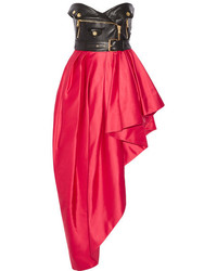 Moschino Faux Leather And Ruffled Satin Midi Dress Red