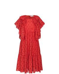 MSGM Ruffled Broderie Anglaise Midi Dress