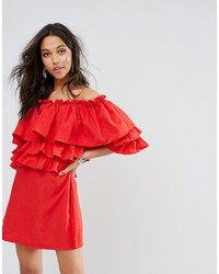 Boohoo Off The Shoulder Ruffle Shift Dress
