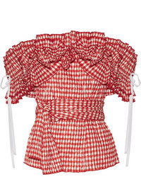 Iris off the shoulder ruffled gingham seersucker top red medium 1152583