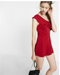 Express Petite Ruffle One Shoulder Romper