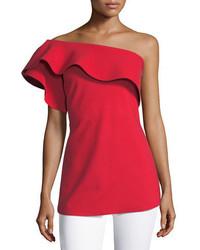 La petite robe dadie one shoulder sculpted ruffle top medium 6465684