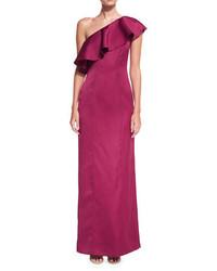 Zac kadence ruffled one shoulder evening gown medium 4156693