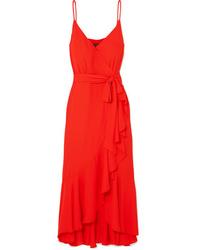 J.Crew Wrap Effect Ruffled Midi Dress