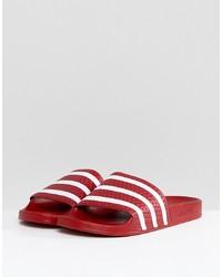 adidas Originals Adilette Sliders In Red 288193