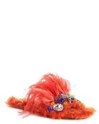 Miu Miu Jewel Feather Faux Fur Sandal