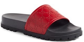 985a858603e2f ... Red Sandals Gucci Pursuit Treck Slide Sandal ...