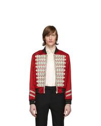 Saint Laurent Red Satin Vintage Teddy Bomber Jacket