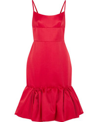 Prada Wool And Silk Blend Satin Peplum Dress Red