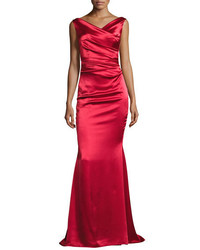 Talbot Runhof Kombo Sleeveless Draped Satin Gown Red