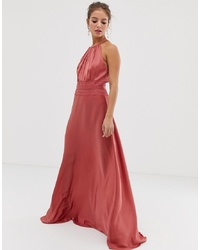 Little Mistress Satin Maxi Dress In Terracotta