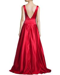 6c3b7637b61 ... Jovani Sleeveless Pleated Satin Ball Gown Red