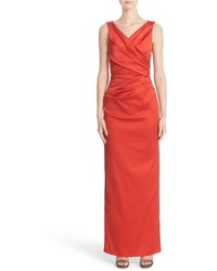V neck ruched stretch satin column gown medium 834589