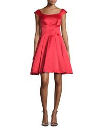 Cap sleeve satin fit flare dress lipstick red medium 694350
