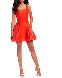 B. Darlin Satin Fit And Flare Dress